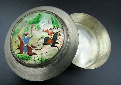 Vintage Persian Khatam Hand Painted Mother of Pearl Trinket Snuff Silver Box