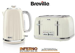 Breville Impressions Kettle And 4 Slice Matching Toaster Set In High Gloss Cream