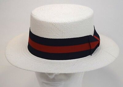 Mens Dress Casual Boater Hat Skimmer Sailor Barbershop Straw White S, M, L, - Skimmer Straw Hat