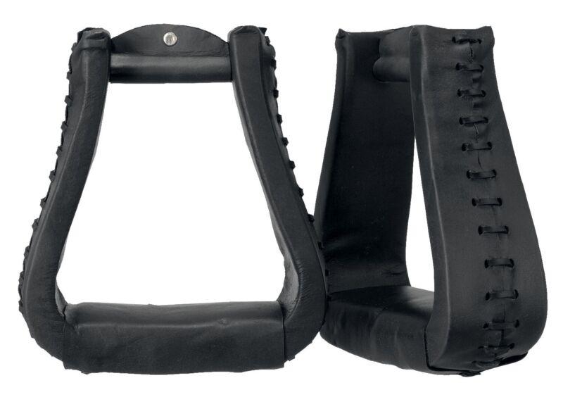 "Western Stirrups - Oversized - 6""x6"" - Leather Covered - Black, Light, Dark Oil"