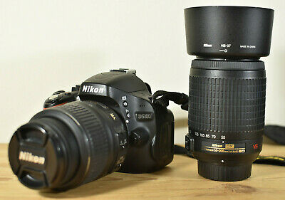 NIKON D5100 DSLR CAMERA KIT WITH 2 NIKKOR VR LENSES CHARGER BATTERY 8GB SD & BAG