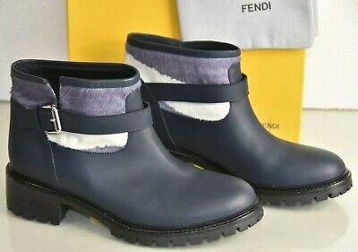 $1350 NEW Fendi combat Riding Boots Ankle Navy Blue Leather Pony Shoes 40.5