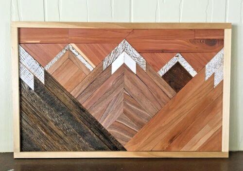 Handmade Mountain Reclaimed Mixed Wood Rustic Wall Art Hanging Farmhouse Chic