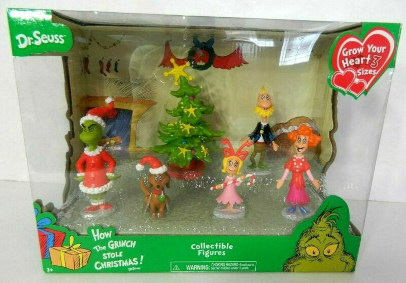 How The Grinch Stole Christmas Dr. Seuss Set of 6 Collectible Figures NEW