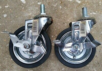 4 Rubber Swivel Caster Wheel With Brake 12 Thread Stem Mount Set Of 2