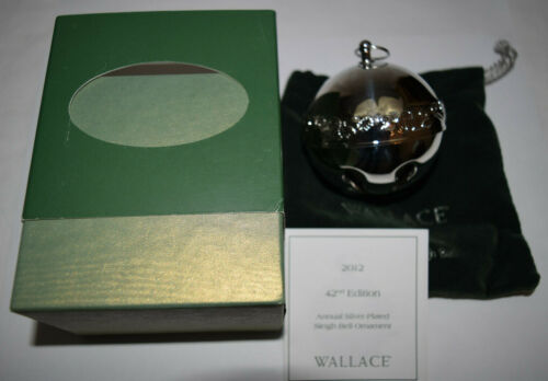 Wallace Annual Silver Plate Sleigh Bell Ornament 2012 Used Bad Sleeve