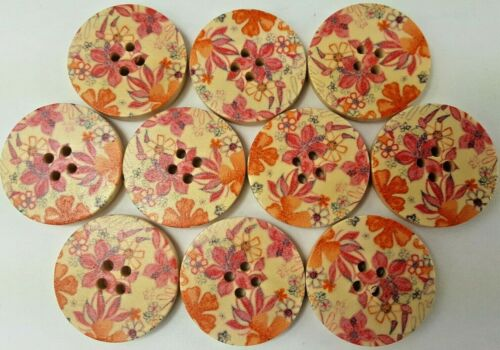 """Lot of 10 Pink & Orange Painted Floral Design 1"""" Wood Buttons"""
