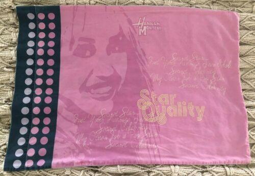 Vintage Hannah Montana Pillow Case Secret Star Pink Purple Black VGUC Soft Clean