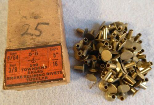 9/64 x 5/16 Townsend Tubular Rivets Brass Brake Re lining Flat 3/8 Head 90 piece