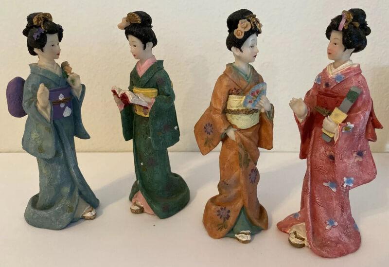 Set Of 4 Awesome Asian Geisha Girls Figurines Japanese ? Chinese ? Korean ? NICE