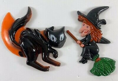 Vintage Halloween Plastic Black Witch with Broom Cat Cake Decorations