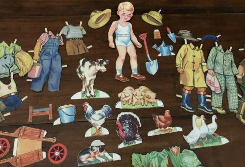 Vintage Paper Dolls Farmer Fred Farm Animals Clothes Etc 1940s (21)