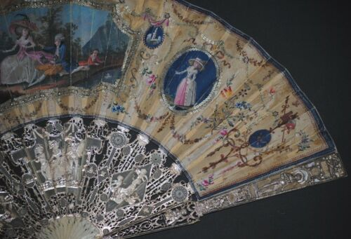 MUSEUM QUALITY ANTIQUE FRENCH FILIGREE SILVER INLAY HAND PAINTED MARRIAGE FAN