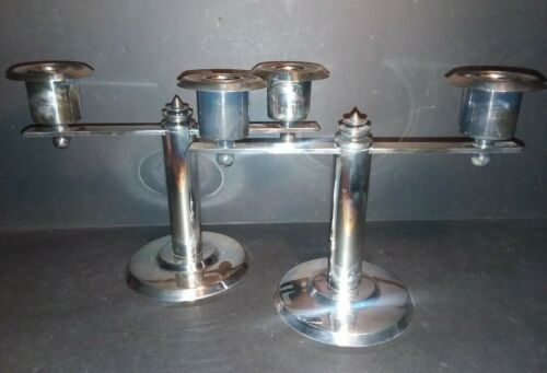 RARE ANTIQUE WELLNER GERMAN SILVER PLATE ART DECO MACHINE AGE CANDLE HOLDERS