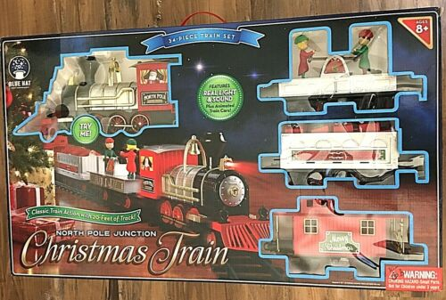 Blue Hat North Pole Junction Christmas Classic Animated Train Set, Lights Sound