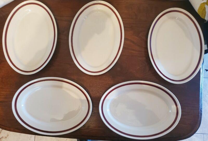 "5 Oval Gold/maroon Rimmed Buffalo China Restaurant Dinner Ware 11.5"" plates"