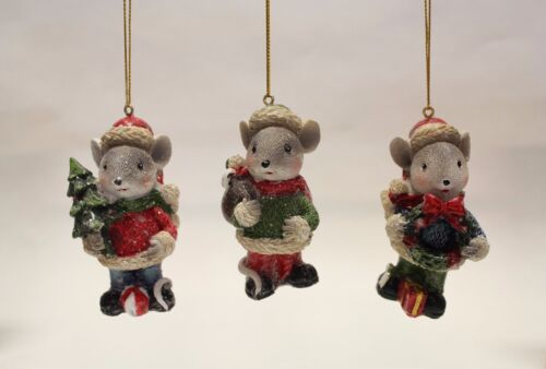"""SET OF 3 HAND PAINTED 3.35"""" RESIN HOLIDAY MICE CHRISTMAS ORNAMENTS"""