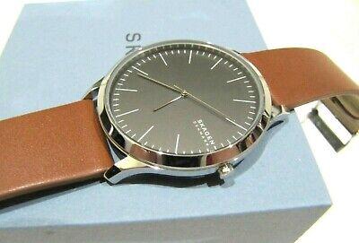 Skagen Mens's Jorn Saddle Brown Leather Watch 41 mm Black Dial SKW6546 NWT $115 Dial Brown Leather Bracelet