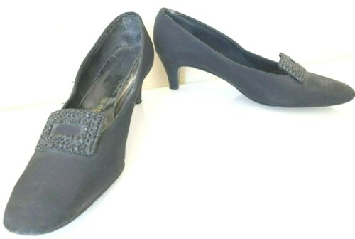 Vintage 1970s Fiore by Rogers Rhinestone Pirate Pump Heel Evening Black 7 Narrow