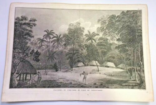 TONGA CIMETERY OF TONGATABOO 1784 JAMES COOK LARGE ANTIQUE VIEW 18TH CENTURY