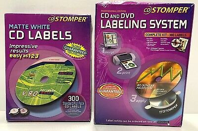 Stomper Pro Cd And Dvd Labeling System Complete Kit Box Of 300 Cd Labels Nos
