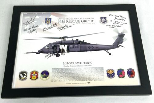 US Air Force 943rd Rescue Group HH-60G Pave Hawk Squadron Signed Framed Print