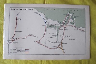1914 RAILWAY CLEARING HOUSE Junc Diagram No.142 FRODINGHAM & GRIMSBY.