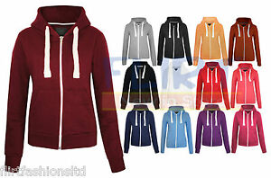 WOMENS-PLAIN-HOODIE-LADIES-HOODED-ZIP-ZIPPER-TOP-SWEAT-SHIRT-JACKET-COAT-SWEATER