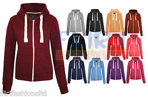 WOMENS-PLAIN-HOODIE-LADIES-HOODED-ZIP-ZIPPER-TOP-SWEAT-SHIRT-JACKET-COAT-Size-6