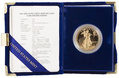 1986    50 1Oz Proof Gold American Eagle  Box   Cert