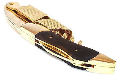 Deluxe Waiters Corkscrew - Gold & Black Corkscrew Wood Handle Professional Double Hinge Waiters Wine Key
