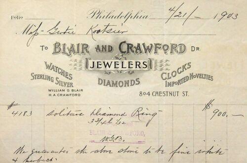 Vtg 1903 Blair & Crawford Letterhead Ring Receipt $900.00 Jeweler Philadelphia