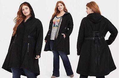 2018 Torrid BBC Doctor Who Tardis Black Lace-up Trench Coat - Women Plus Size 0X