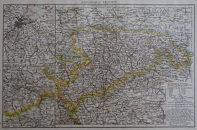 Victorian Map 1896 of GERMANY - THE KINGDOM OF SAXONY The Times Atlas 1st Gen