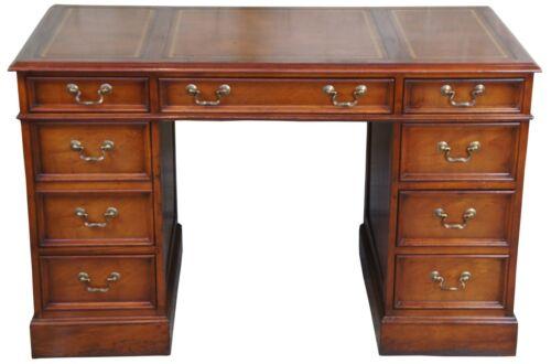 "Sligh Lowry Mahogany Tooled Leather Top Kneehole Writing Desk Mid Century 48"""