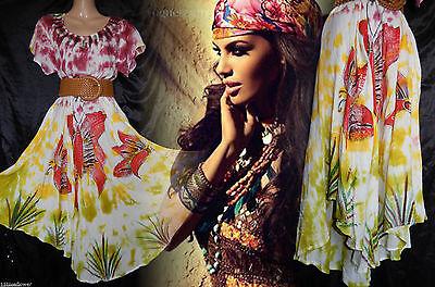 Dress Vtg 60s 70s Boho Hippie Indian Muslin 10 12 14 16 38 40 42 44 US 6 8 10 12