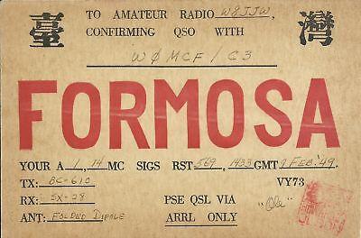 OLD VINTAGE W0MCF/C3 FORMOSA AMATEUR RADIO QSL CARD