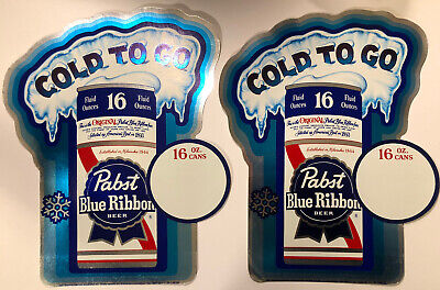 """Vtg 1970s Pair PABST BLUE RIBBON BEER PBR Cold To Go Price Sign Sticker 10"""" NOS"""