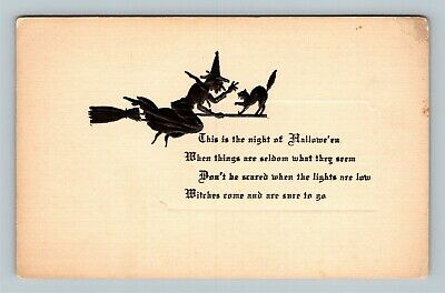 HALLOWEEN Vintage TRG Postcard Witch on Broom with Black Cat Embossed