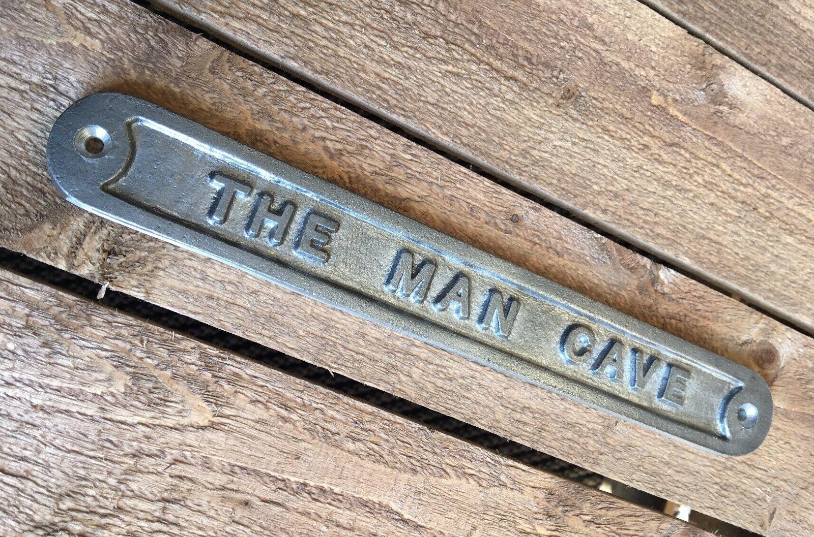 39 the man cave 39 door sign shed garage vintage solid cast for Vintage garage signs uk