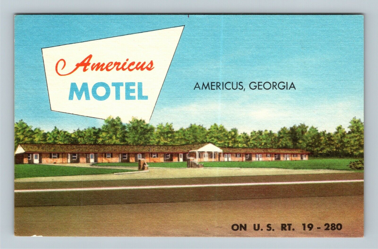 Americus GA, Americus Motel, Linen Georgia Postcard - $7.99