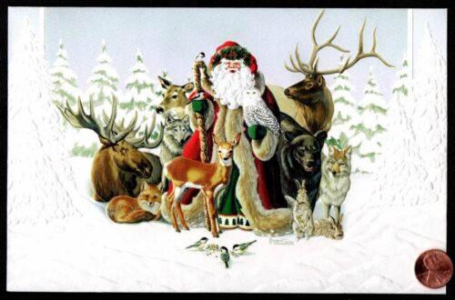 Santa Claus Owl Fox Deer Wolf Bear Bunny Rabbits - Christmas Greeting Card