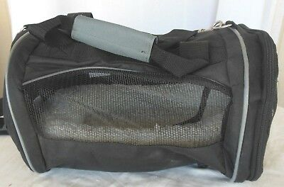 Pet Carrier Small 13X11X8 With Sherpa Bed Black Canvas and Mesh Tote GUC