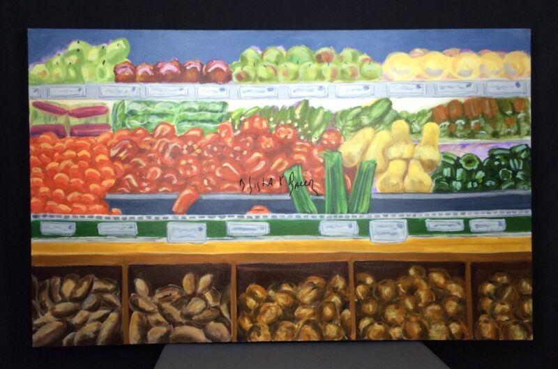 Farmers Market Vegetable Original Painting Art Wall Hanging Fresh Food Lg 30x48