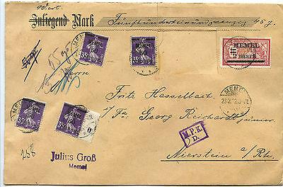 Memelgebiet Zensur Wert Brief Memel Nierstein 1922