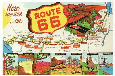 Route 66 Map, Chicago Illinois to Los Angeles California, Road - Modern Postcard