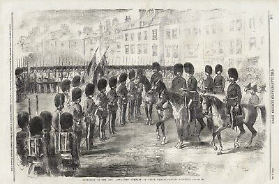 OLD 1859 PRINT INSPECTION OF HON ARTILLERY COMPANY AT PARADE GROUND FINSBURY b65