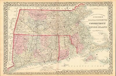 1874 ANTIQUE MAP - USA - MASSACHUSETTS, CONNECTICUT AND RHODE ISLAND