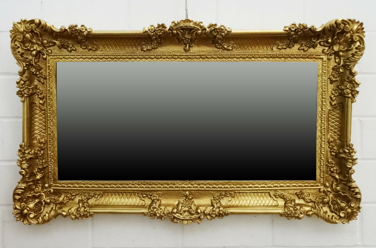 Grand Miroir Mural Miroir Baroque Rectangulaire Antique or Blanc 96x57