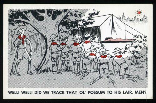 Vintage 1954 Boy Scout Troop Views Nude Sunbather Comic Artist Devery Postcard